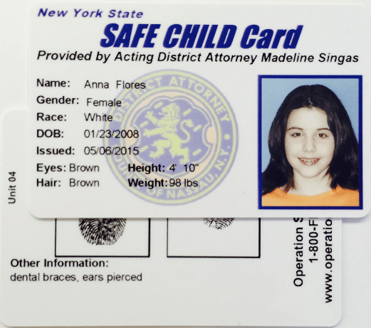 Safe Child ID Card Example