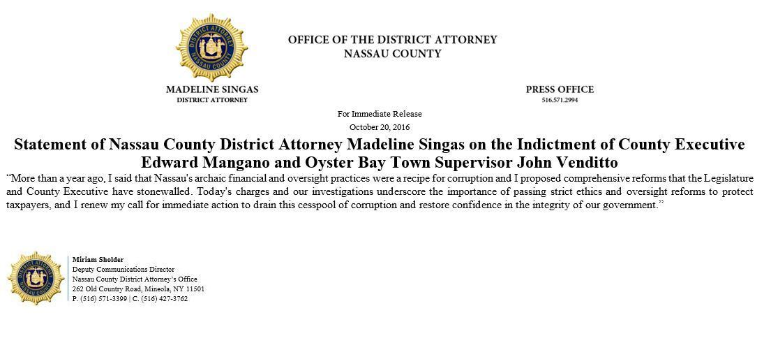 Statement from DA Madeline Singas - October 20, 2016